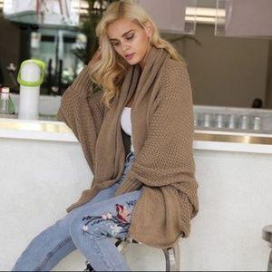 Sweaters - Oversized Batwing Khaki Cardigan Shrug Sweater